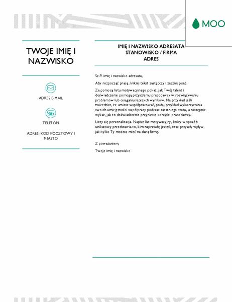 Kreatywny list motywacyjny, zaprojektowany przez firmę MOO