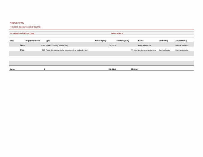 Rejestr gotówki podręcznej