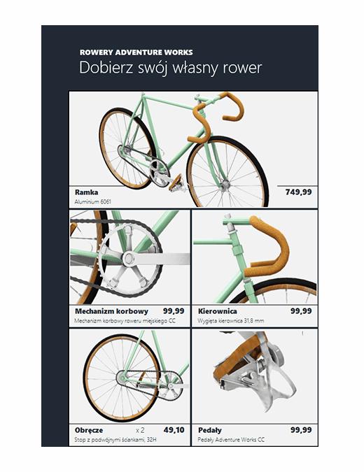 Katalog produktów 3-W w programie Excel (model roweru)
