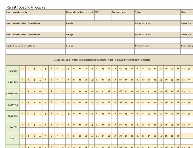 Rejestr obecności ucznia (prosty)