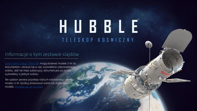 Prezentacja 3-W programu PowerPoint (model teleskopu Hubble'a)