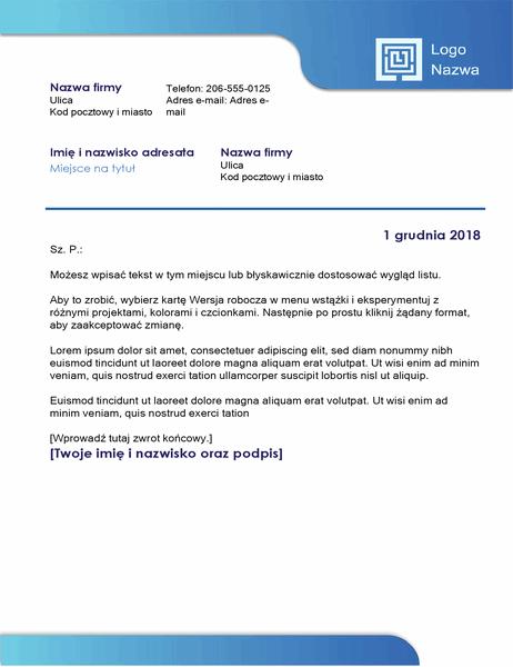 List biznesowy (niebieskie obramowanie i gradient kolorów)