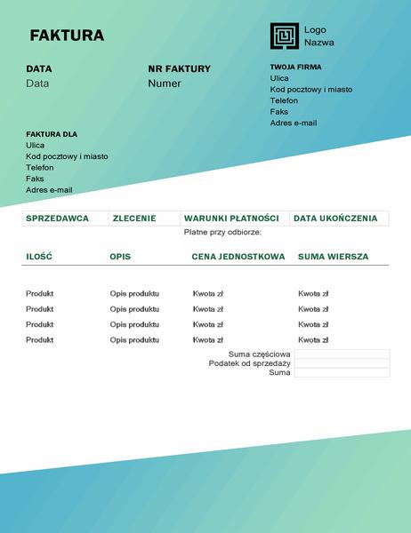 Faktura za usługę (projekt Zielony gradient)