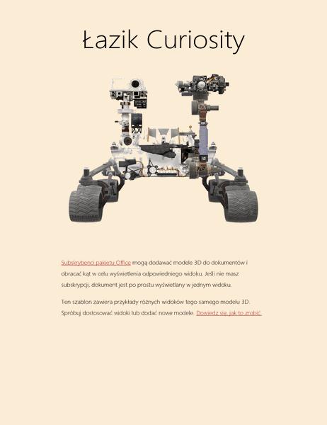 Raport naukowy 3D w programie Word (model łazika na Marsie)