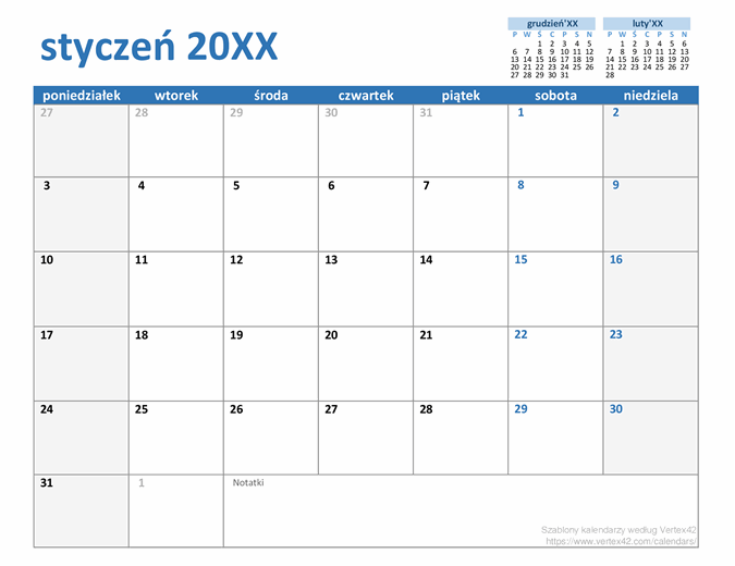 Kalendarz niestandardowy na dowolny rok