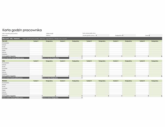 Karta godzin pracownika (dzienna, tygodniowa, miesięczna i roczna)