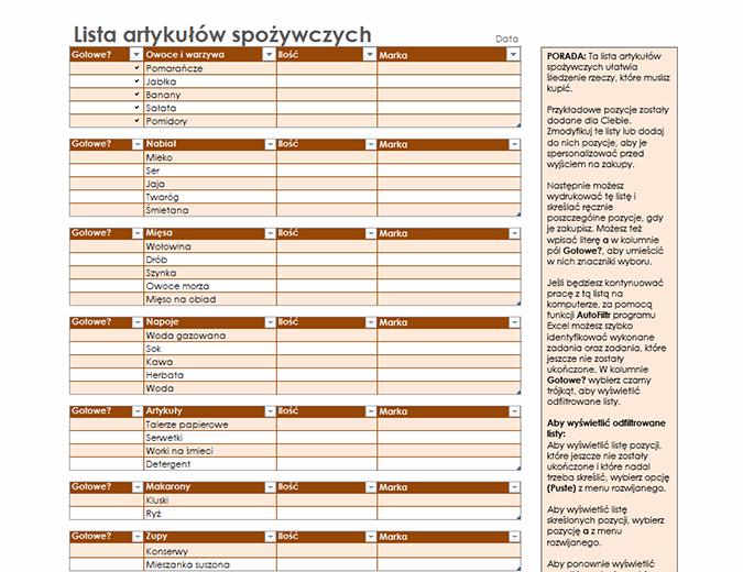 Lista artykułów spożywczych z miejscem na markę