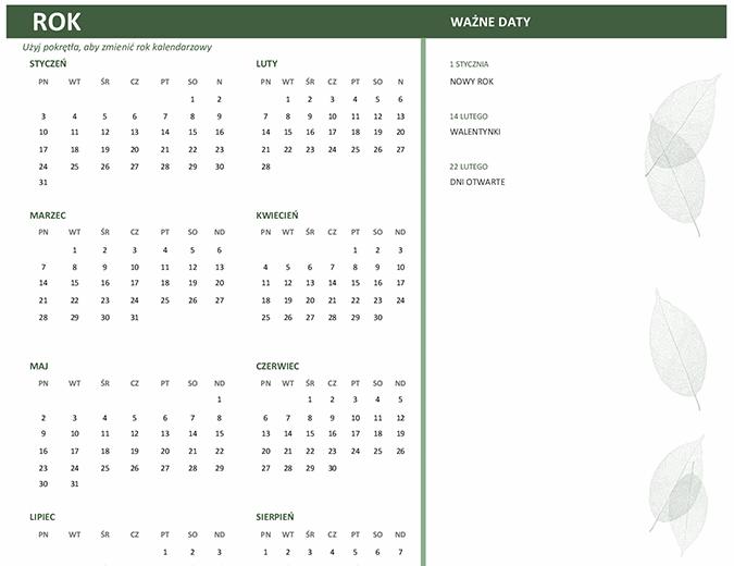 Kalendarz biznesowy (dowolny rok, pon.–niedz.)