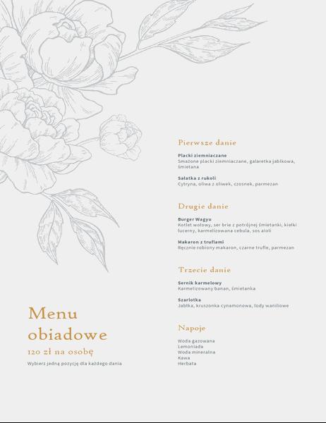Eleganckie menu obiadowe