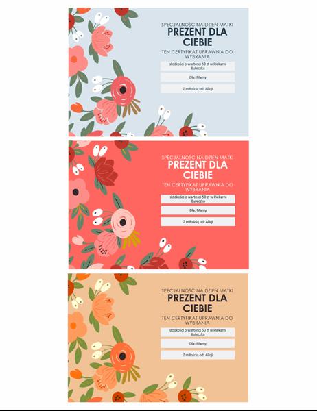 Eleganckie karty podarunkowe na Dzień Matki z motywem kwiatowym