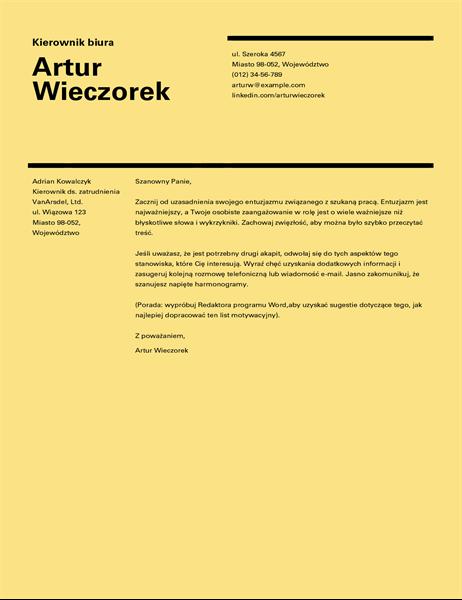 Szwajcarski projekt listu motywacyjnego
