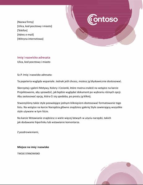 Nagłówek listowy — apartament Róża