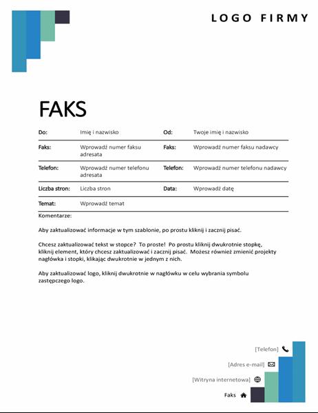 Strona tytułowa faksu — niebieskie stopnie