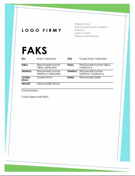 Geometryczna strona tytułowa faksu