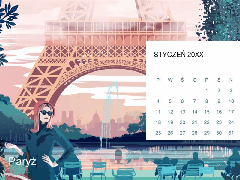 Kalendarz miesięczny z panoramą miasta