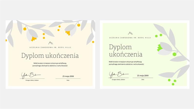 Certyfikat ukończenia z kwitnącą gałęzią