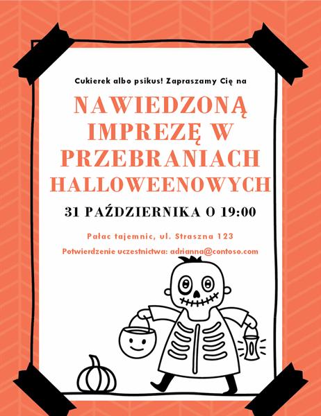 Zaproszenie na Halloween zmotywem kościotrupa