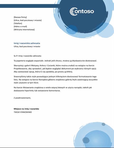 Nagłówek listu — niebieskie sfery