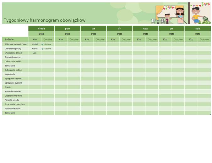 Tygodniowy harmonogram obowiązków