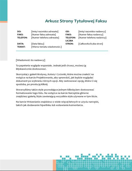 Strona tytułowa faksu (Technologia i minimalizm)