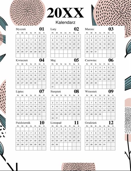 Kalendarz (nowoczesny, kwiatowy motyw)