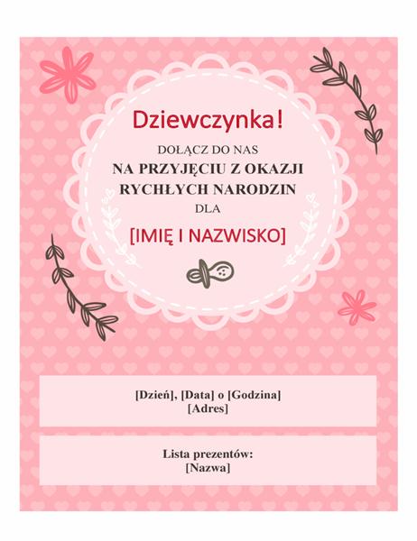 Zaproszenie na przyjęcie z okazji zbliżających się narodzin córki