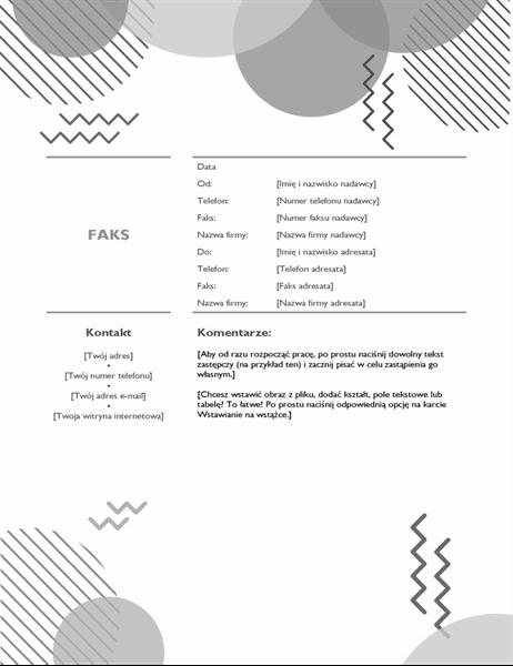 Czarno-biała strona tytułowa faksu z lat osiemdziesiątych