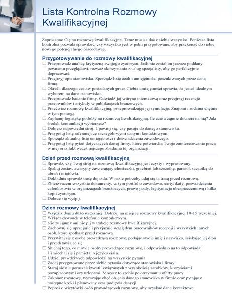 Lista kontrolna rozmowy kwalifikacyjnej