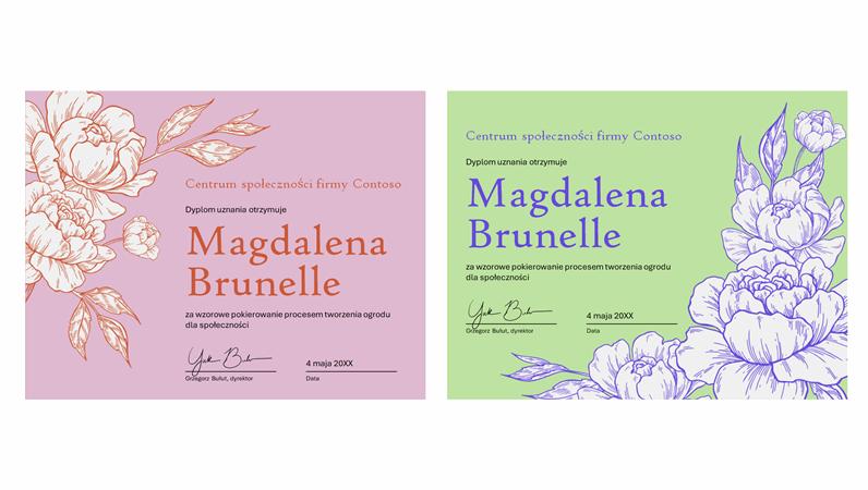 Certyfikat ukończenia — grawerowane kwiaty