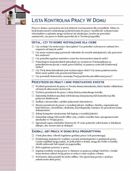 Lista kontrolna pracy z domu