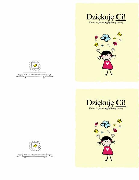 Kartka z podziękowaniami — dziewczynka