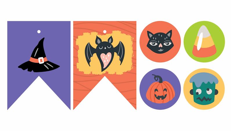 Materiały do wydrukowania na przyjęcie z okazji Halloween
