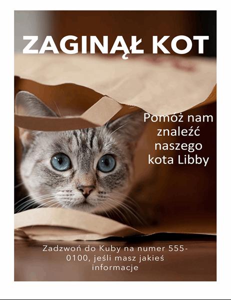 Ulotka o zaginięciu kota