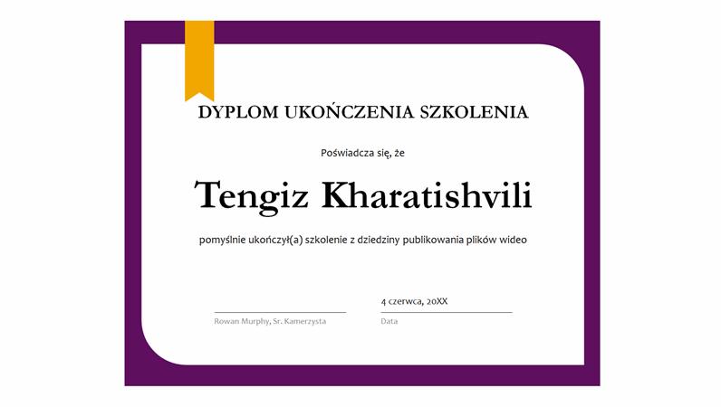 Dyplom ukończenia szkolenia