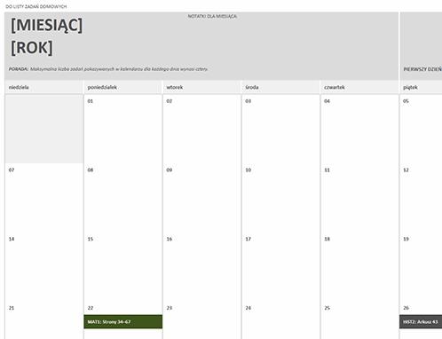 Kalendarz zadań domowych