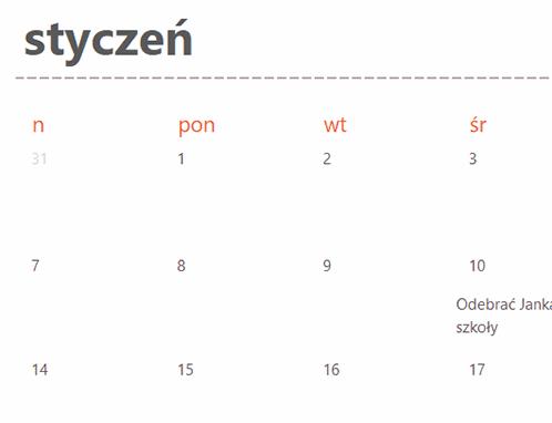 Karty wiecznie aktualnego kalendarza (kolor biały)