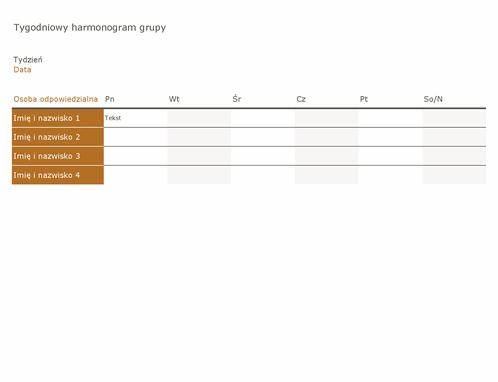 Tygodniowy harmonogram grupy