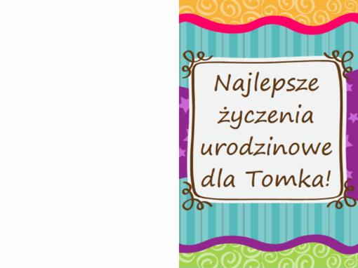 Kartka urodzinowa — gwiazdki i paski (dla dzieci, składana na pół)