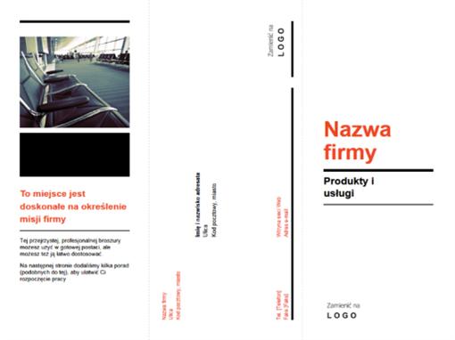Trzyszpaltowa broszura firmowa (projekt czarno-czerwony)