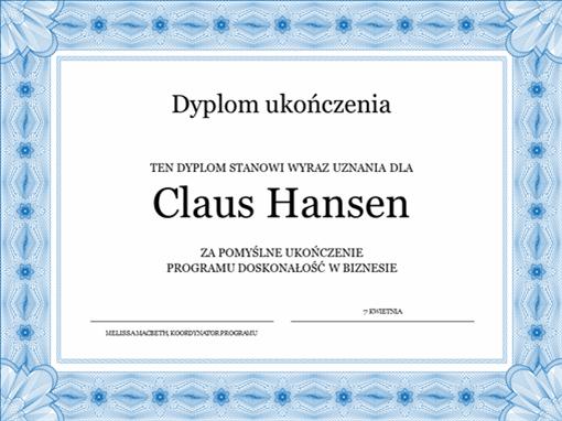 Dyplom ukończenia (niebieski)