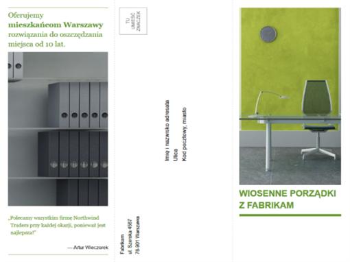 Trzyszpaltowa broszura firmowa (projekt zielono-czarny)