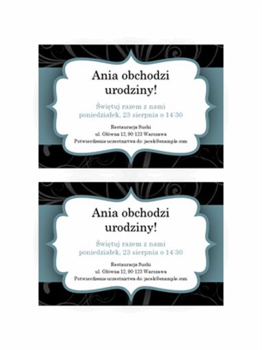 Zaproszenia na przyjęcie (niebieska wstążka, 2 na stronie)