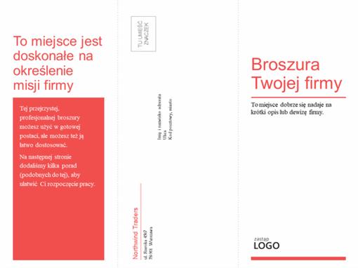 Potrójna składana broszura biznesowa i medyczna (czerwono-biały wzór)