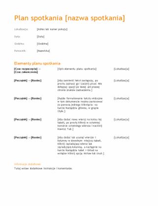 Plan spotkania biznesowego (motyw Pomarańczowy)