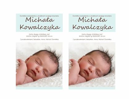 Zawiadomienie o narodzinach chłopczyka