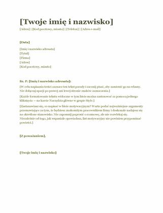 List motywacyjny do życiorysu (zielony)