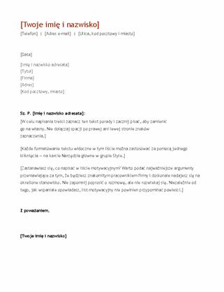 Życiorys i list motywacyjny (chronologicznie)
