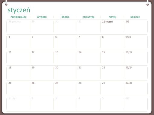 Klasyczny kalendarz ścienny (pon.–niedz., projekt z dwoma pierścieniami)