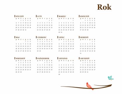 Kalendarz roczny z ptakami (pon.–niedz.)