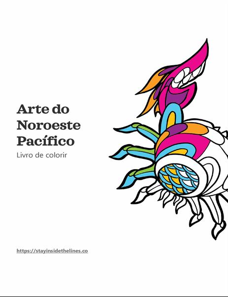 Livro de colorir sobre arte do Noroeste Pacífico
